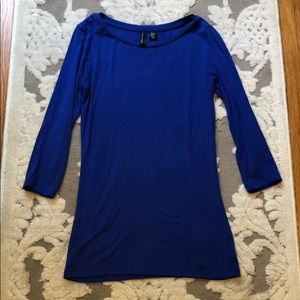 Cynthia Rowley Cobalt Blue 3/4 Length Sleeve Top